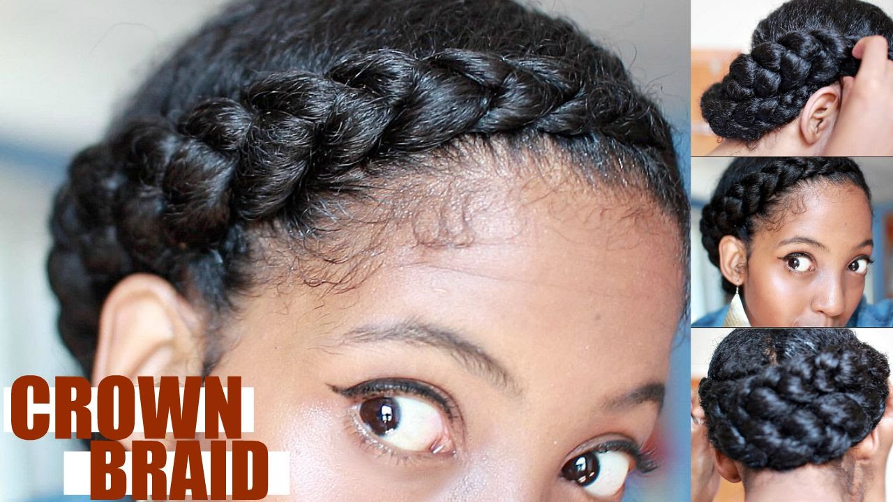 Effortless Crown Braid for Natural Hair | Protective Style - YouTube