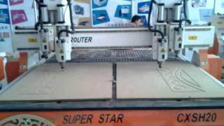 Cnc Router/ Super Star Double Heads Four Spindles Symmetrical Engraving Wood Door