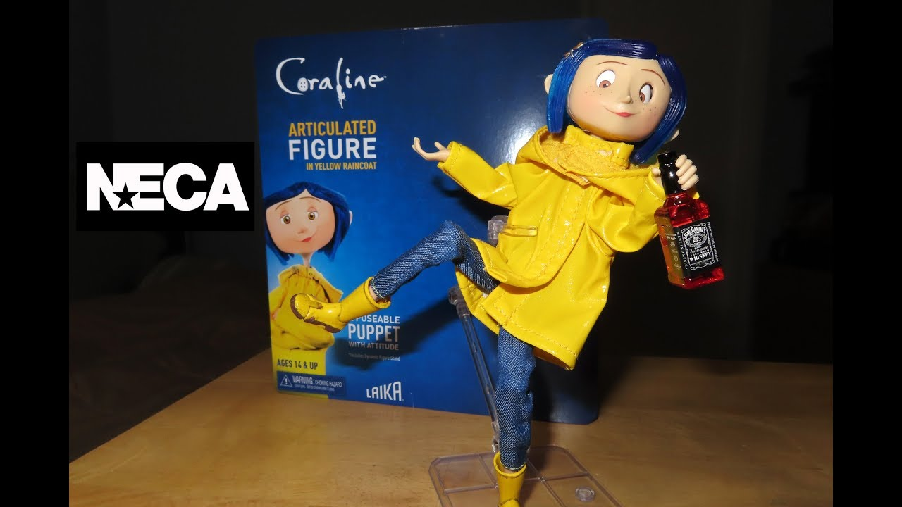 Neca Coraline Articualted Action Figure With Yellow Raincoat Toy Unboxing Review Youtube