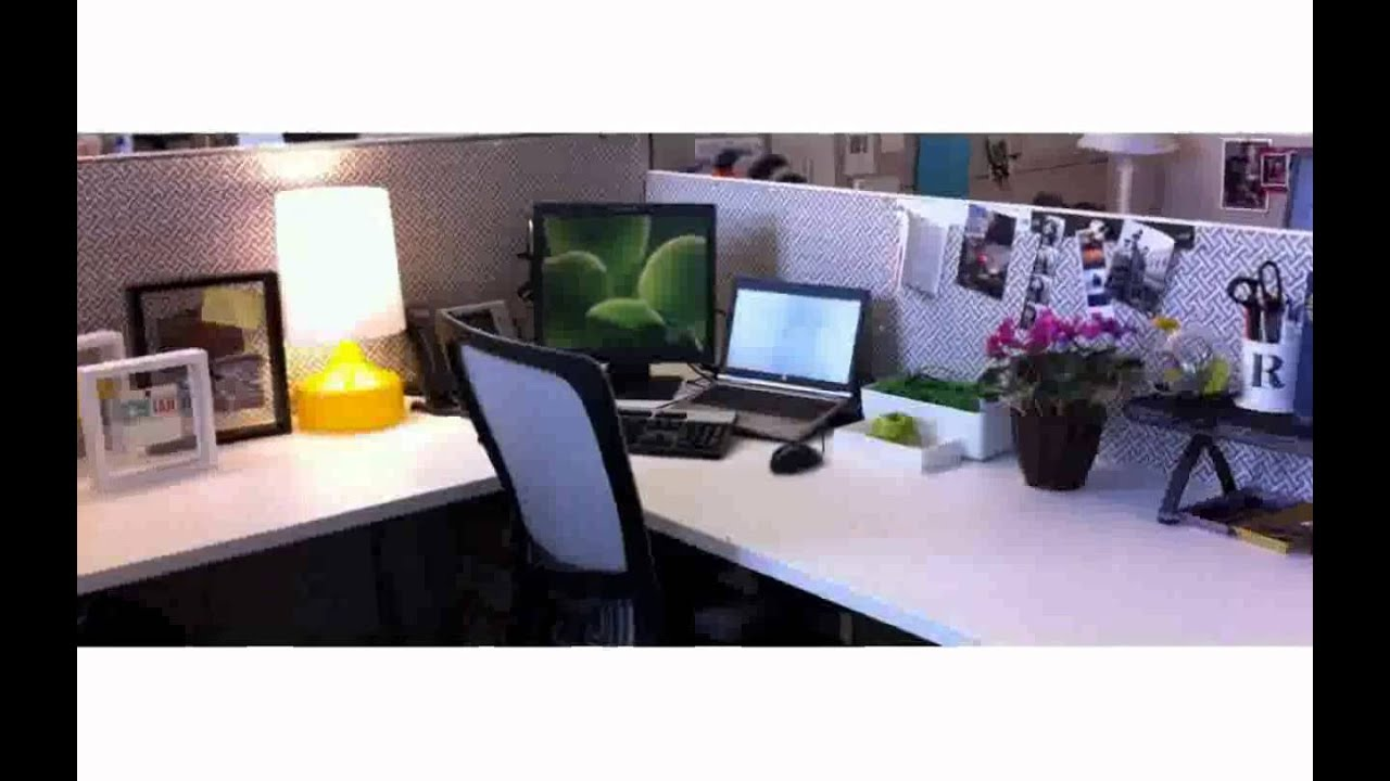 Cubicle decoration ideas youtube for How to decorate desk in office