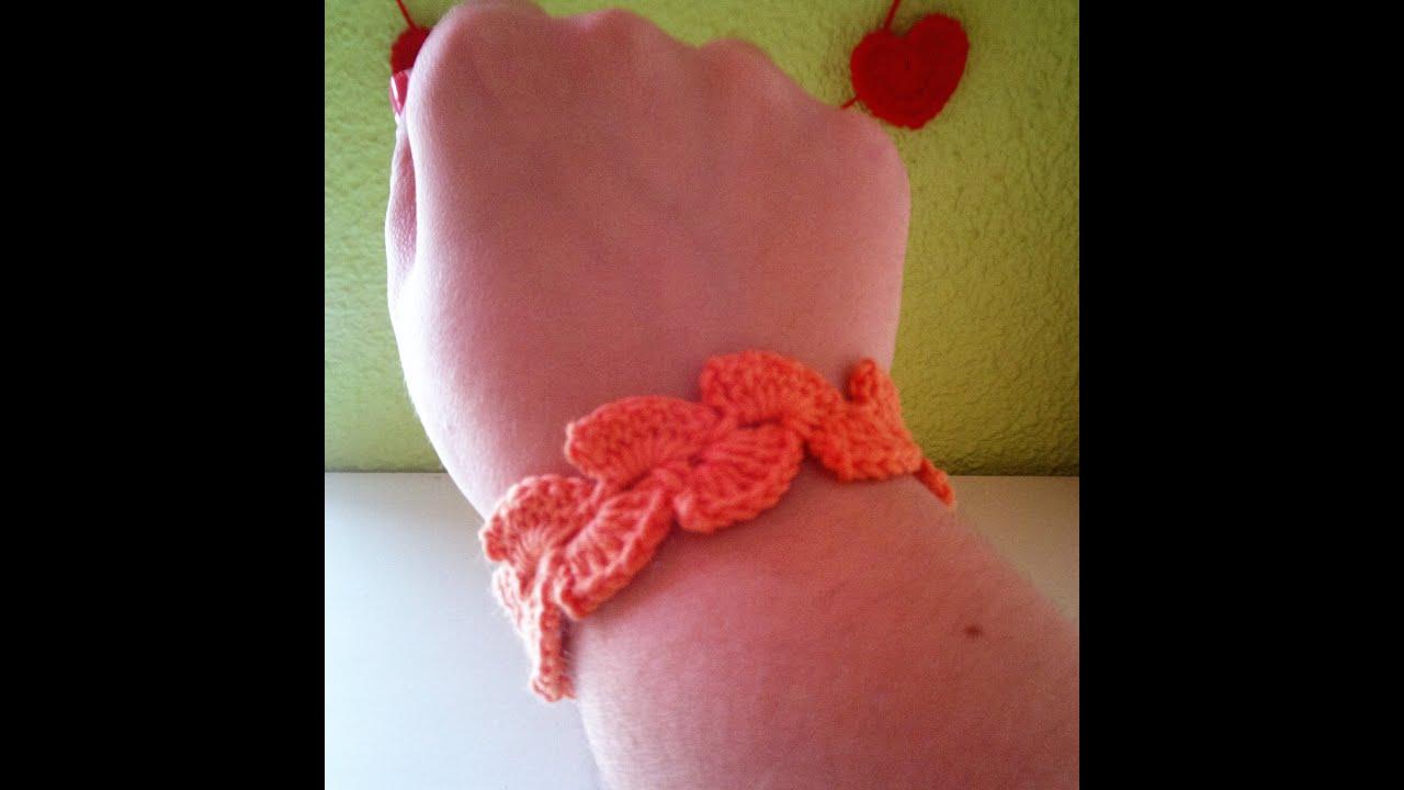 c9a495873f51 Pulsera de abanicos a ganchillo / Crochet bracelet