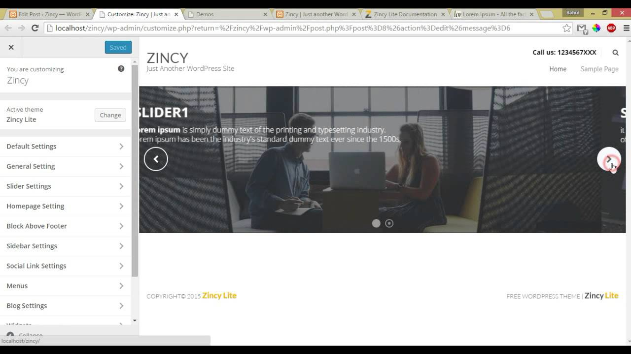 Zincy Lite - How to upload the image in slider and slider setting ...