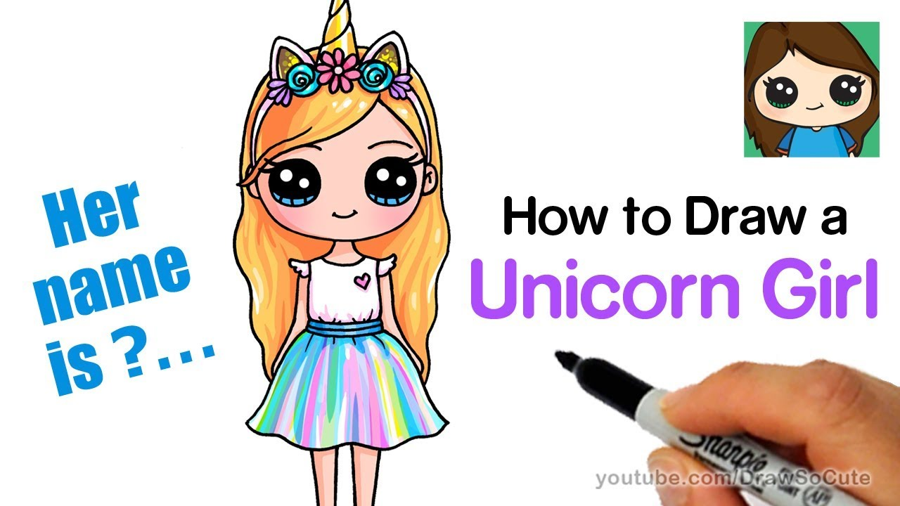[VIDEO] - How to Draw a Unicorn Cute Girl Easy 6