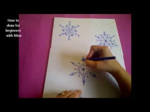 como dibujar copos de nieve como desenhar um floco de neve youtube. Black Bedroom Furniture Sets. Home Design Ideas