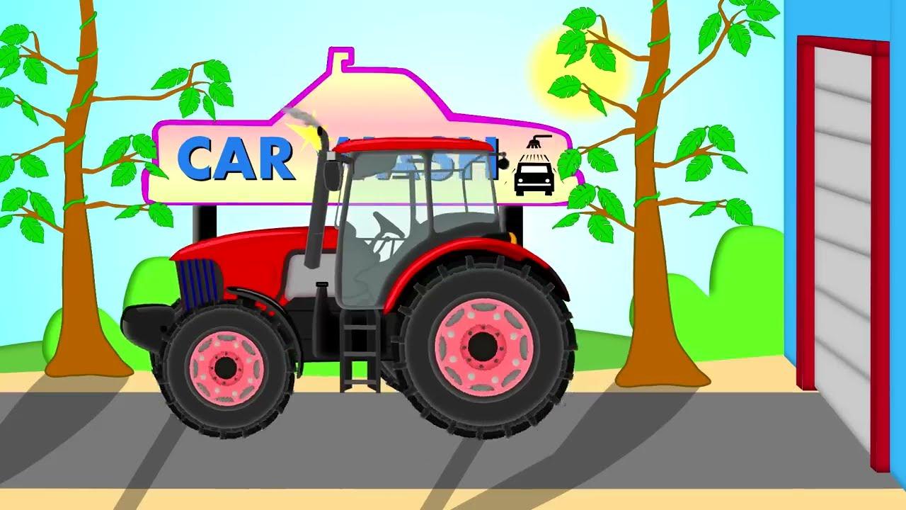 Traktor And Car Wash Bazylland Red Tractor Bajka Youtube