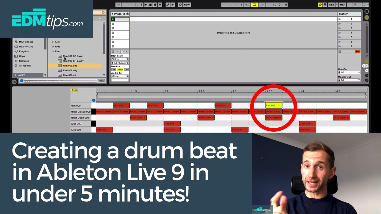 Ableton Live 9 Beginners Tutorial - Creating a Drum Beat