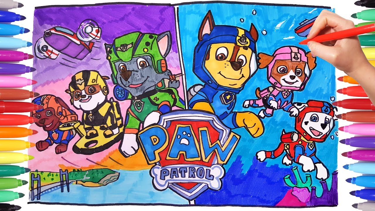 Paw Patrol Air And Sea Adventures Coloring Pages Paw Pups