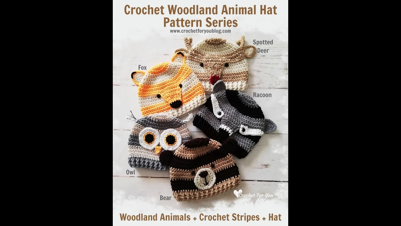Crochet Woodland Animal Hat Pattern Series Youtube