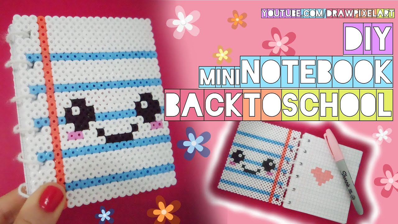Diy Mini Notebook Back To School Easy Kawaii Perler Hama Beads Cute Pixels Draw Pixel Art