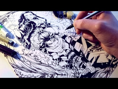 Drawing EPIC Kimetsu No Yaiba Splash Page! Anime Manga Sketch thumbnail