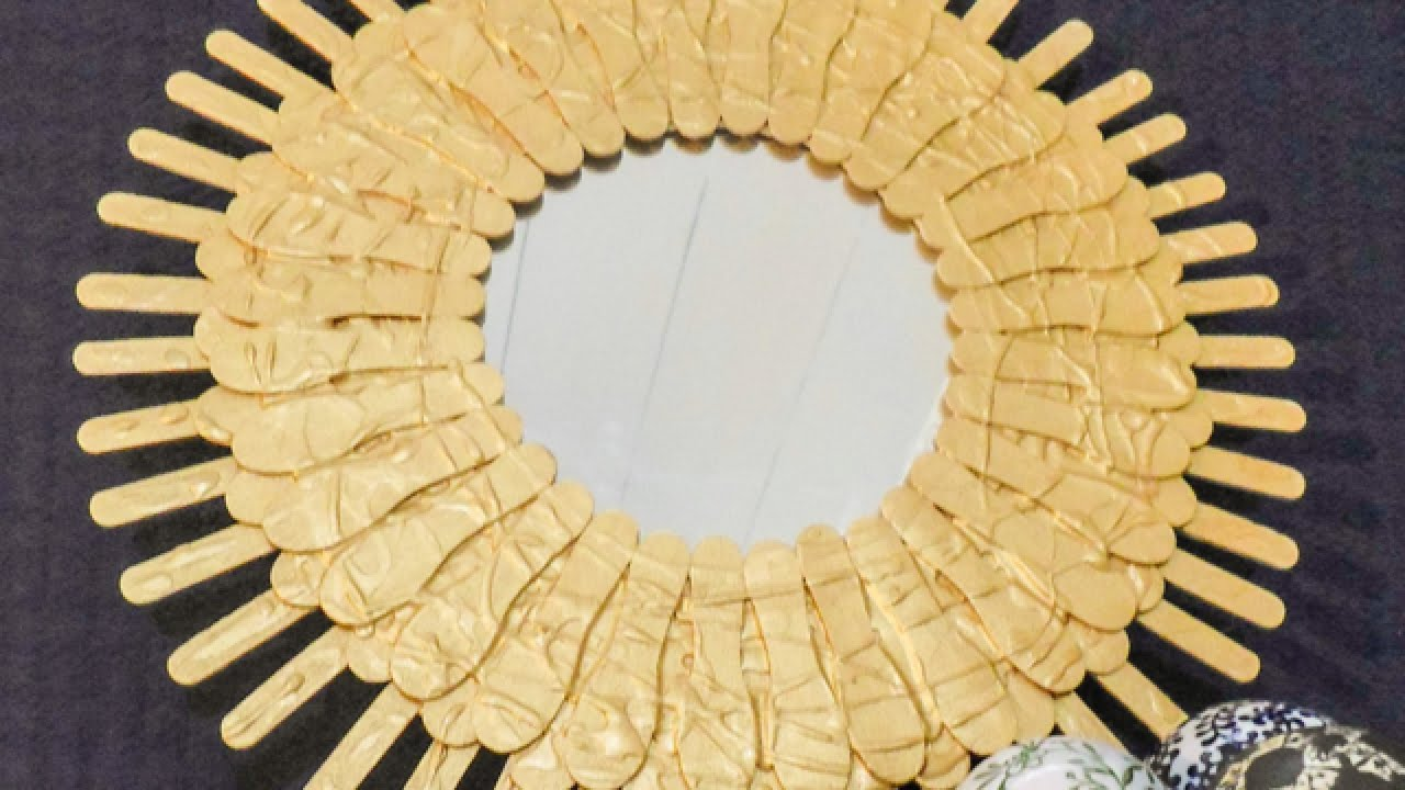 Sun Shaped Mirrors How To Make A Pretty Popsicle Stick Sunburst Mirror Diy Home Tutorial Guidecentral