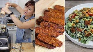 Vegan Bacon Caesar, Alfredo, Zucchini Brownies // Cook w/ Me