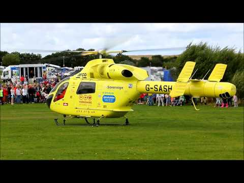 Yorkshire Air Ambulance Lands At Filey - North Yorkshire