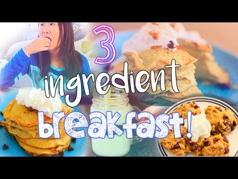 3 Ingredient Breakfast Ideas! DIY Pancakes, Smoothie+ Cookies!