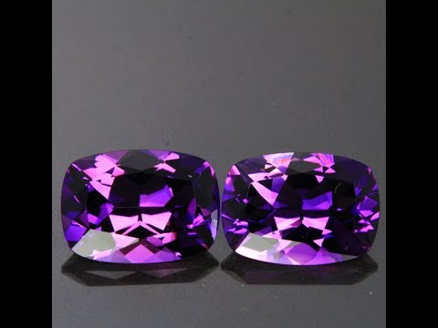 Pair 10.69 Carats antique Cushion Amethysts from Rwanda