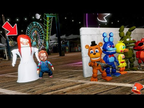 CAN THE ADVENTURE ANIMATRONICS HIDE FROM EVIL LITTLE CUTE HORROR DOLL & CHUCKY? (GTA 5 Mods FNAF)