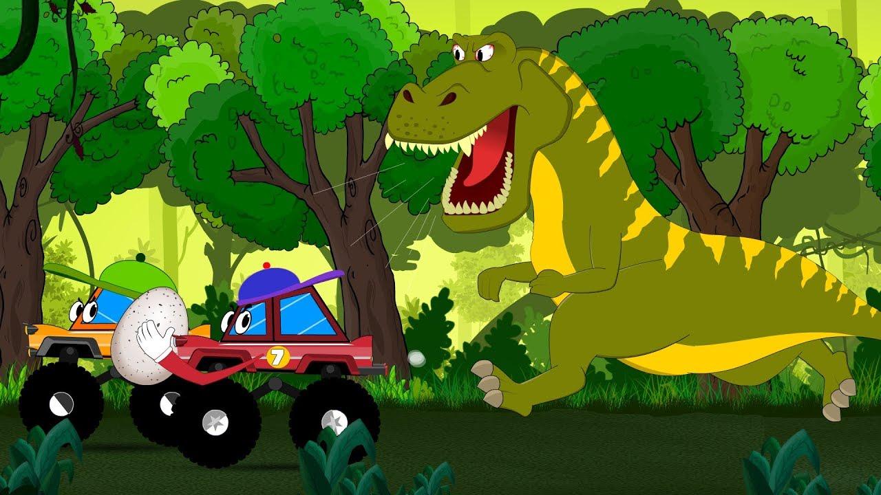 Dinosaur Cartoons For Children Little Red Truck Rescue