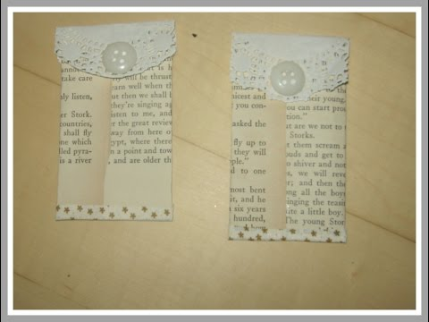 How to make tag pockets from book pages / Mixed Media Arts/ DIY Book Page Pockets