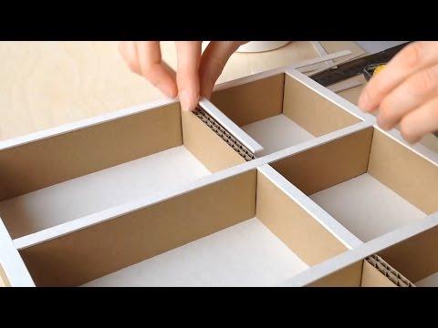 DIY How to make a cardboard drawer organizer HD (corrugated cardboard furniture)