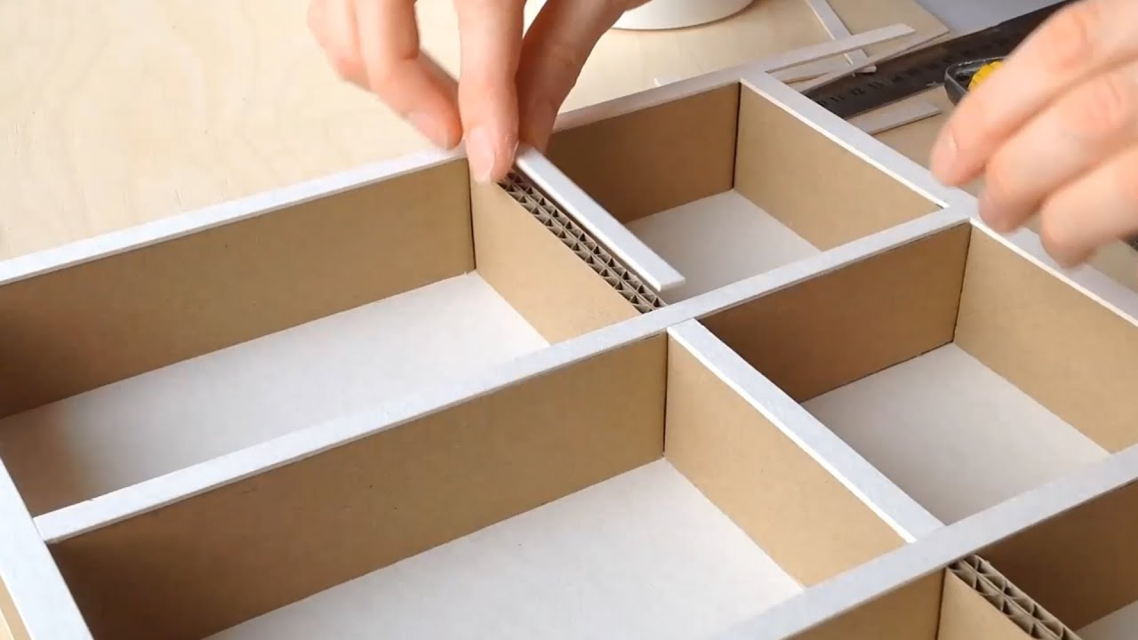 DIY How To Make A Cardboard Drawer Organizer HD  . Full resolution‎  file, nominally Width 1920 Height 1080 pixels, file with #BB8610.