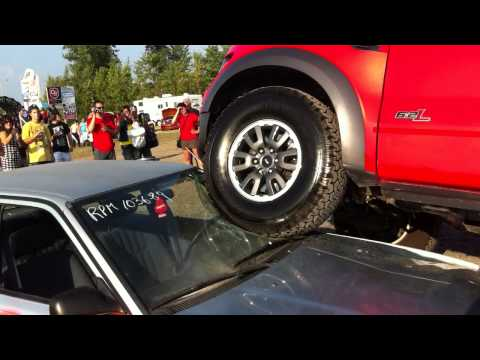 Car crawling in stock Ford SVT Raptor at 2011 Ramshow
