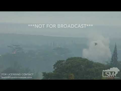 5-17-18 Pahoa, Hawaii - Fissure 18 Eruptions - Low vis from Sulfur Dioxide - 26 Minutes Raw