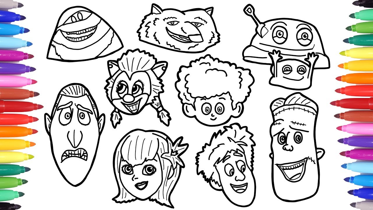 Hotel Transylvania Summer Vacation Coloring Pages, How to Draw Dracula  Mavis Blobby Frank Faces