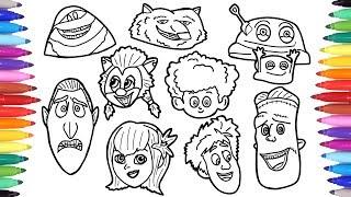 Hotel Transylvania Summer Vacation Coloring Pages, How to Draw Dracula Mavis Blobby  Frank Faces