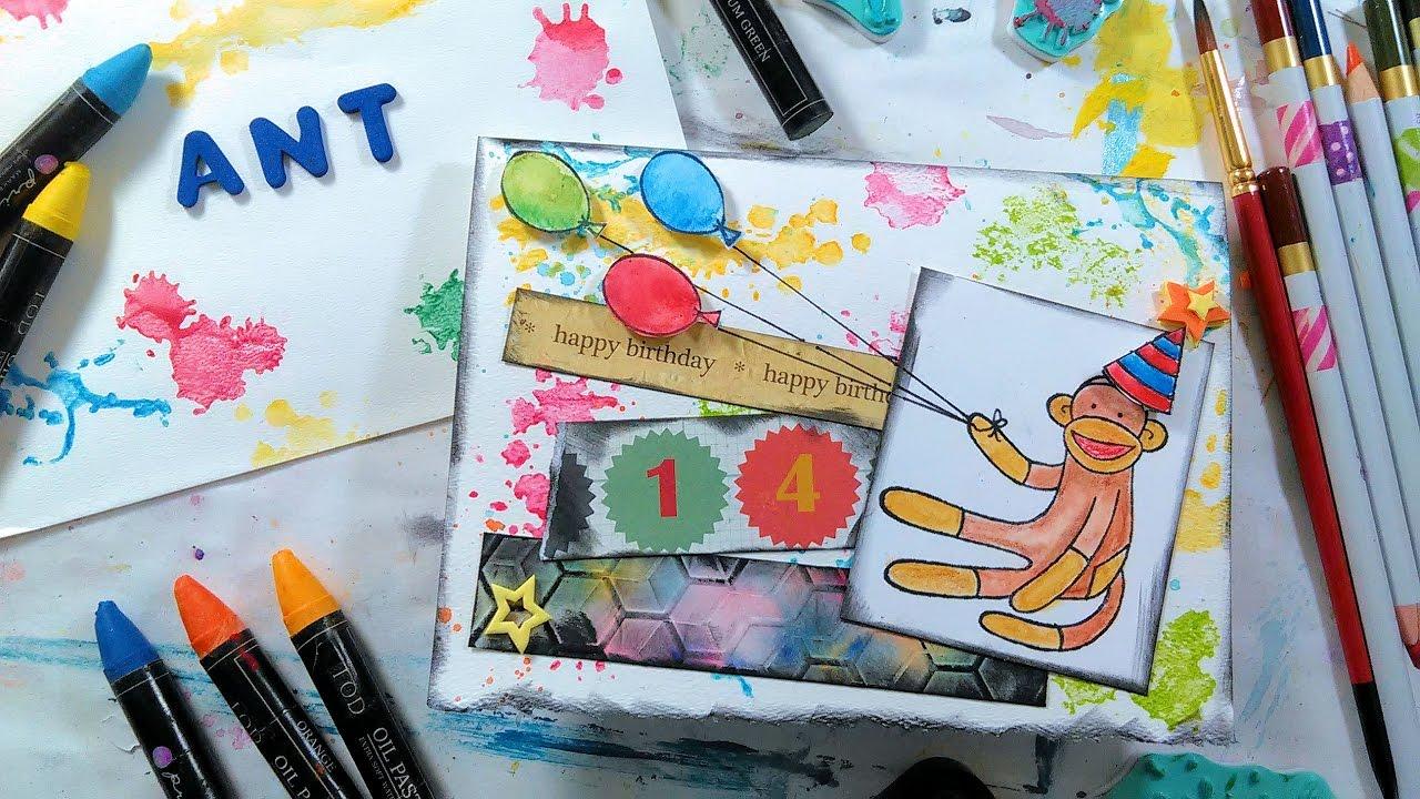 Watercolor Birthday Cards Tutorial ~ Messy mixed media happy birthday card tutorial youtube
