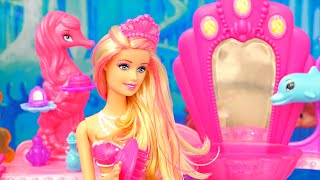 Mermaid Barbie ! Toys and Dolls Fun for Kids Playing with Under the Sea Hair Salon from Barbie Movie