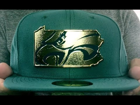 Eagles 'GOLD STATED METAL-BADGE' Green Fitted Hat by New Era