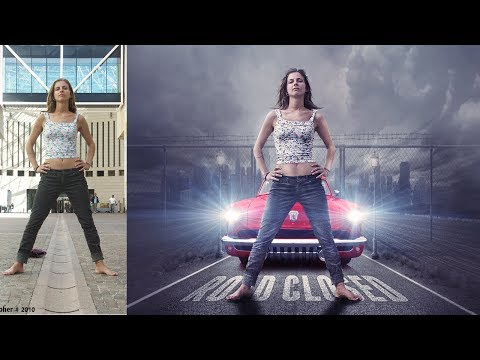 Girl with movie poster look photo manipulation | photoshop tutorial cc