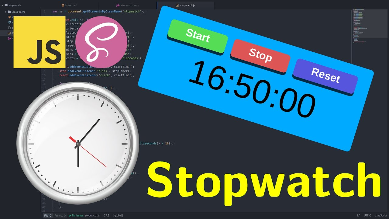 Create a simple STOPWATCH TIMER in JavaScript, CSS (SCSS)