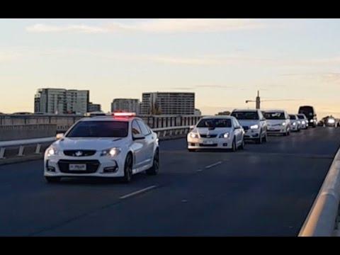 Unknown motorcade on Commonwealth Avenue bridge Canberra