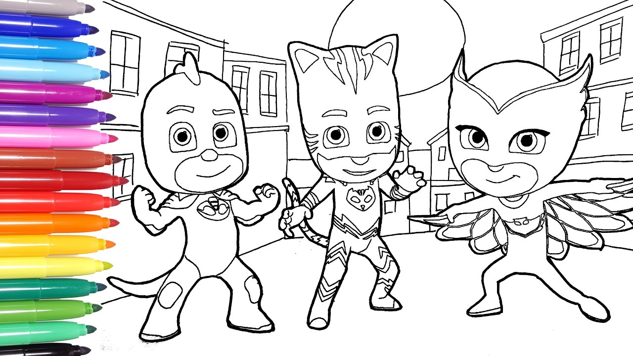 pj masks coloring pages coloring catboy owlette and gekko learn colors for kids