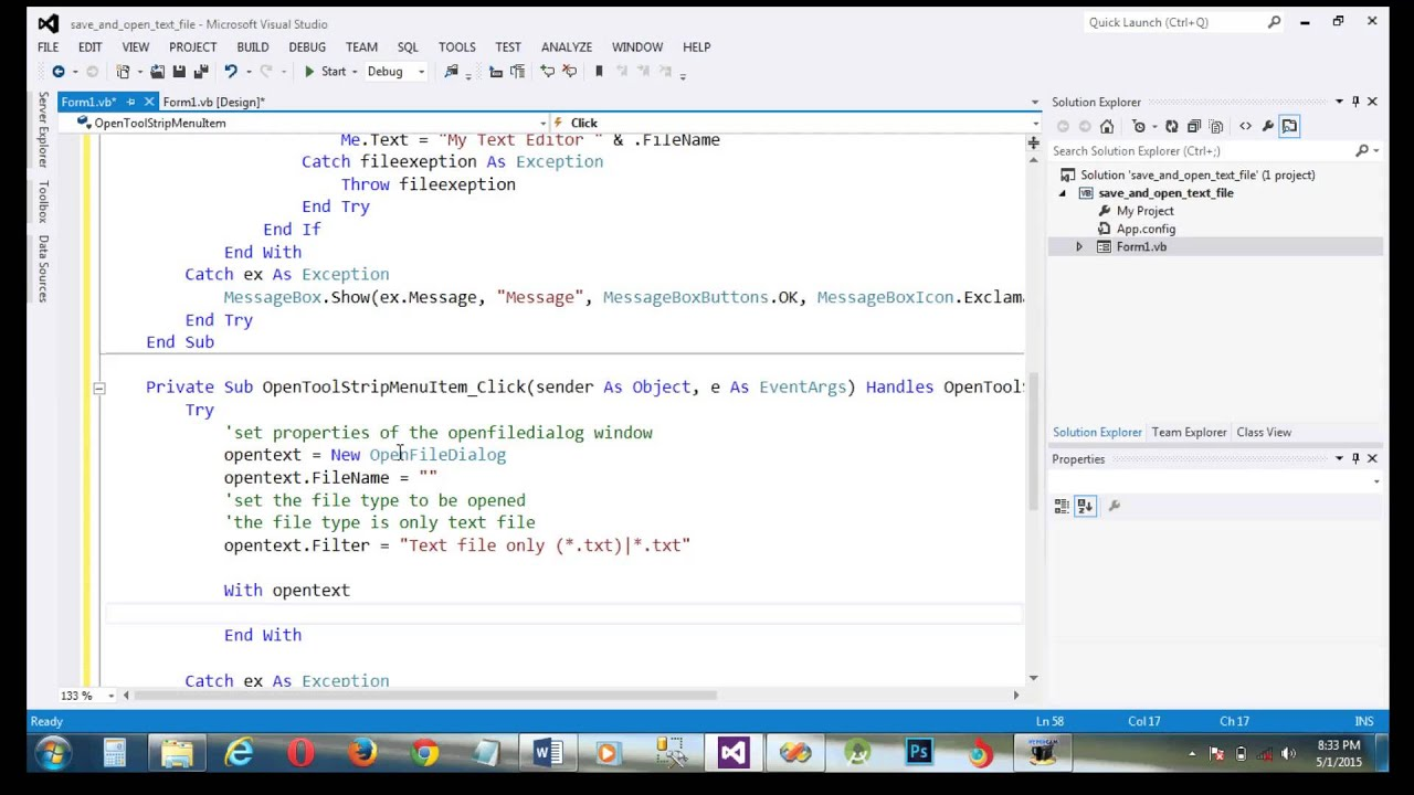 How To Save And Open Text File On Vb Net Visual Studio