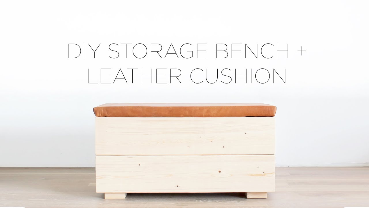 Diy Storage Bench With Leather Cushion Youtube