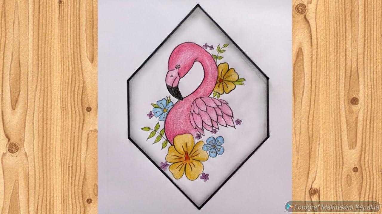 Çiçekler içinde flamingo çizimi 🌺