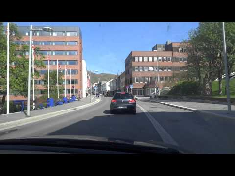 Driving through the city center of Hammerfest, Norway