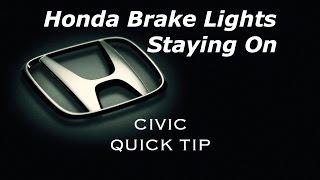 Honda Brake Lights Staying On when Car is OFF? - Civic Quick Tip - Bundys Garage
