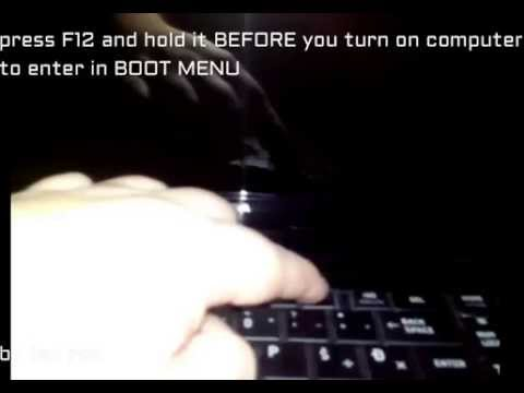how to enter in boot menu on toshiba satellite 750 - YouTube