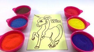 Nhạc Thiếu Nhi Nước Ngoài! Đồ Chơi Trẻ Em - TÔ MÀU TRANH CÁT HÌNH bạch mã - Colored Sand Painting!