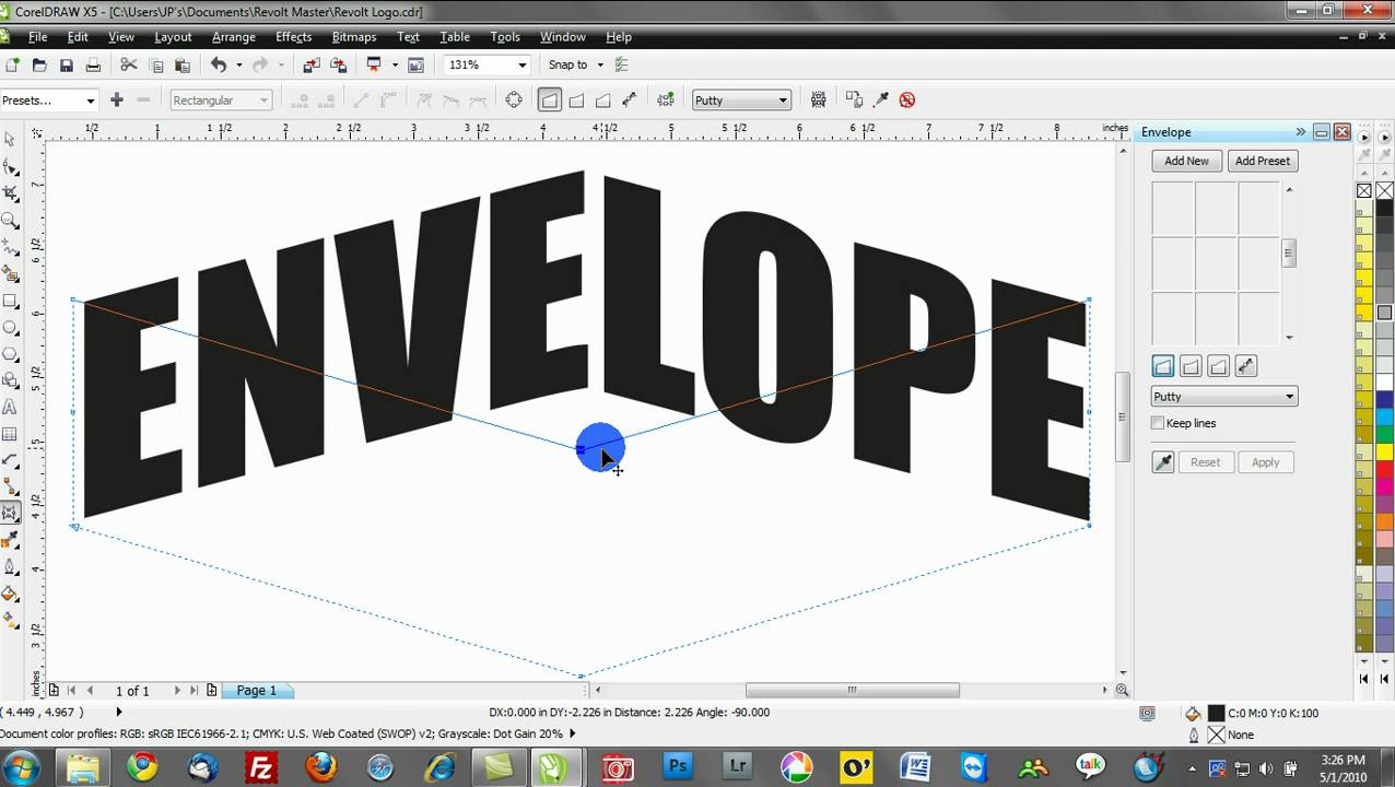 Corel Draw Text Effects Training Tutorials Envelopes Youtube