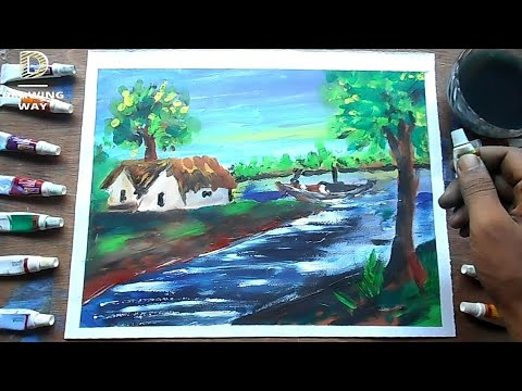 Landscape village River Scenery drawing | Watercolor Finger Painting