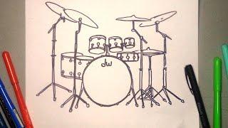 Dibuja paso a paso una Bateria DW drums drawing