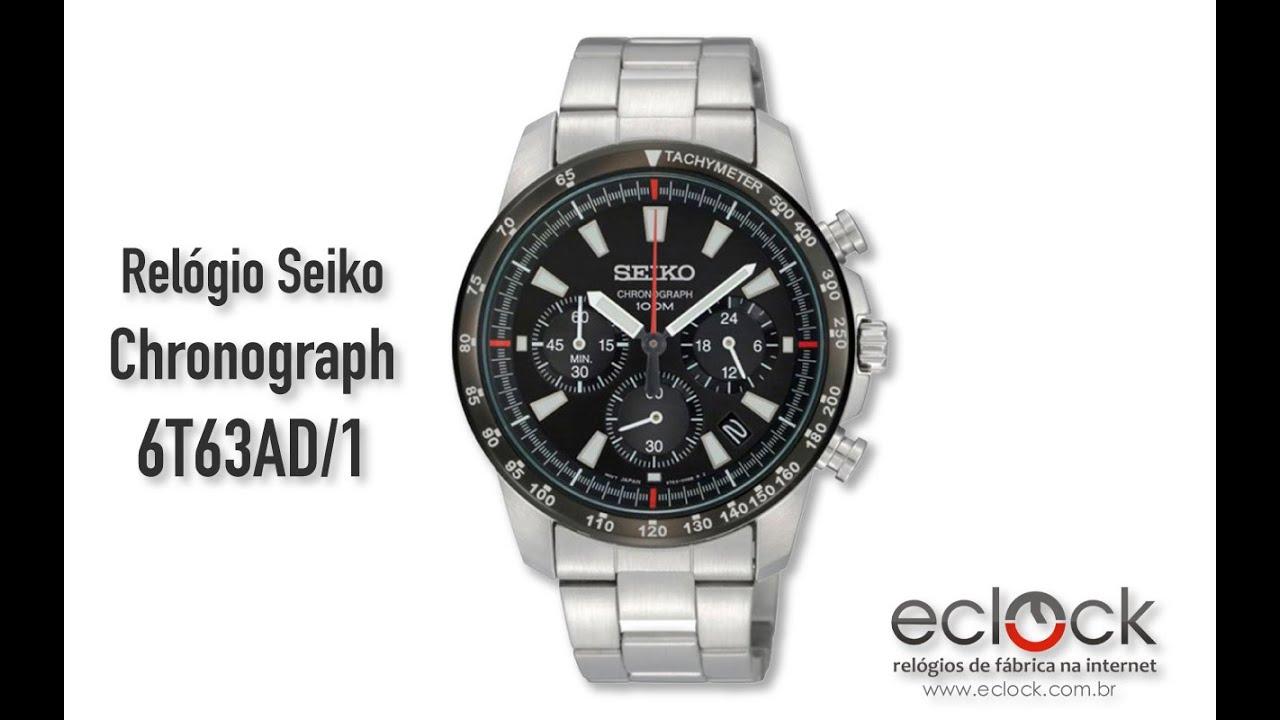 27dca1ed90d Relógio Seiko Masculino Chronograph 6T63AD 1 - Eclock - YouTube