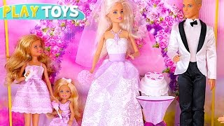 Barbie and Ken Wedding day! - Baby doll pink car toy & bicycle play toys  kids