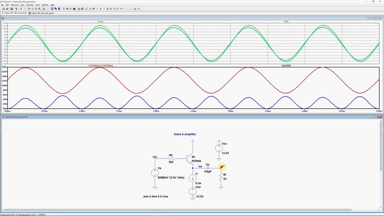 Spice Simulation Of The Class A Amplifier Youtube Ab Power Amplifiers