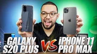 GALAXY S20+ vs. iPHONE 11 PRO MAX! | batalha de GIGANTES! APPLE x SAMSUNG!!!