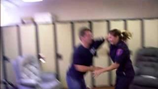 Girl Firefighter makes Guy Firefighter tap!!
